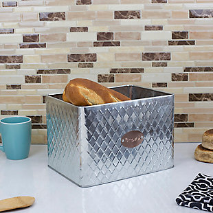 Home Accents Arbor Collection Tin Bread Box, Silver, , rollover