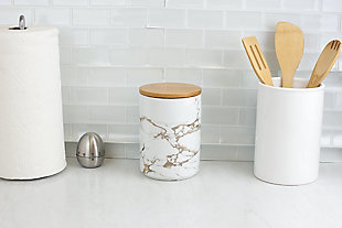 Home Accents Marble Ceramic Large Canister with Bamboo Lid, White, , rollover