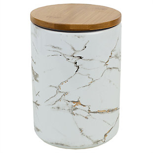 Home Accents Marble Ceramic Large Canister with Bamboo Lid, White, , large