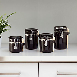 Home Accents 4 Piece Ceramic Canister Set with Wooden Spoons, Black, Black, rollover