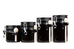 Home Accents 4 Piece Ceramic Canister Set with Wooden Spoons, Black, Black, large