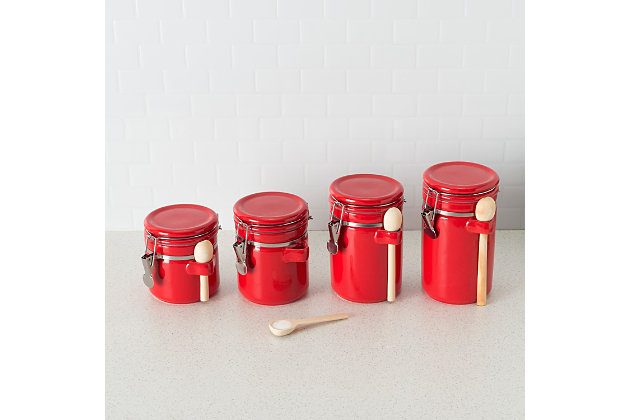 Home Accents 4 Piece Ceramic Canister Set with Wooden Spoons, Red, Red, large
