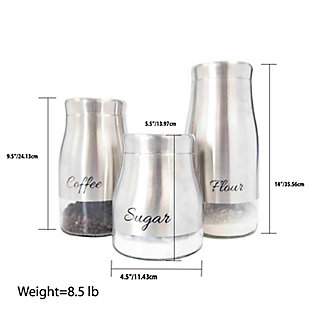 Home Accents 3 Piece Stainless Steel Canister Set with See-Through Glass Base, Silver, , large