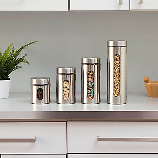 Home Accents 4 Piece Stainless Steel Canister Set, , rollover
