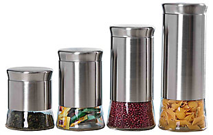 Home Accents Essence Collection 4 Piece Stainless Steel Canister Set, , large