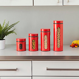 Home Accents 4 Piece Essence Collection Stainless Steel Canister Set, Red, Red, rollover