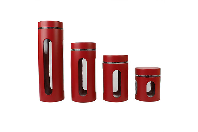 Home Accents 4 Piece Essence Collection Stainless Steel Canister Set, Red, Red, large