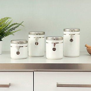 Home Accents 4 Piece  Canister Set with Stainless Steel Tops, White, rollover