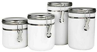 Home Accents 4 Piece  Canister Set with Stainless Steel Tops, White, large