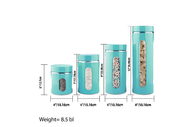 Home Accents 4 Piece Essence Collection Stainless Steel Canister Set, Turquoise, Turquoise, large