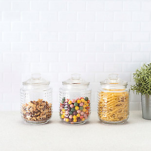 Home Accents Dott 40.5 oz. Glass Canister, (Set of 3), Clear, , rollover
