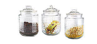 Home Accents Dott 40.5 oz. Glass Canister, (Set of 3), Clear, , large