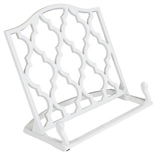 Home Accents Lattice Collection Cast Iron Non-Skid Reading Rest Cookbook Holder, White, , large