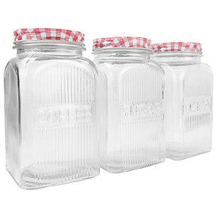 Home Accents Rustic Picnic 44 oz. Glass Canister, (Set of 3), , large