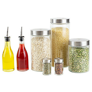 Home Accents 7 Piece Kitchen Condiment and Canister Set, Clear, , large