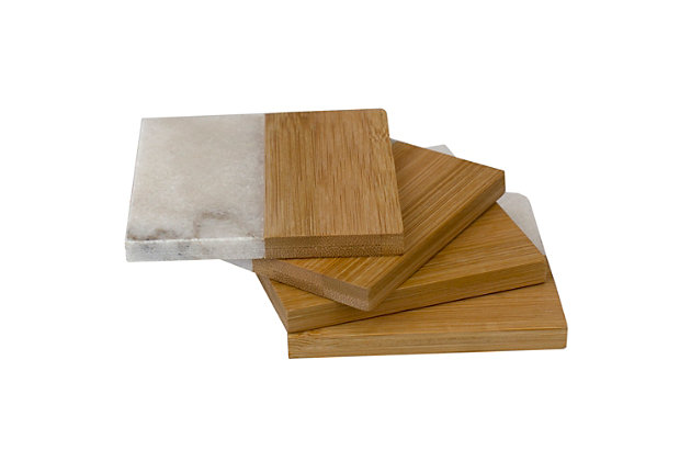 Home Accents Bamboo and Absorbent Decorative Beverage  Square  Marble Coasters, (Set of 4), , large