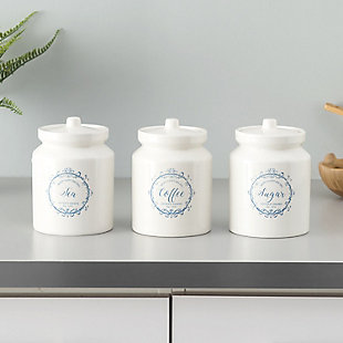 Home Accents Crest 3 Piece Ceramic Canister Set with Knob Top Lid, White, , rollover