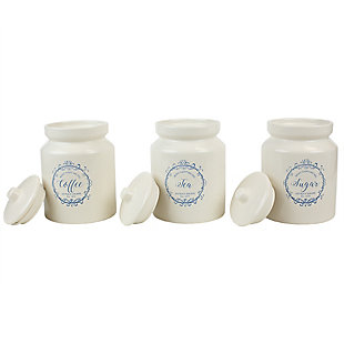 Home Accents Crest 3 Piece Ceramic Canister Set with Knob Top Lid, White, , large