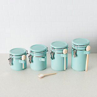 Home Accents 4 Piece Ceramic Canister Set with Wooden Spoons, Turquoise, Turquoise, rollover