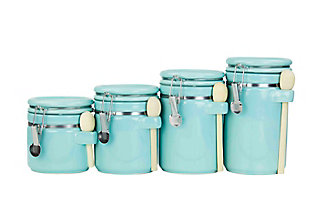 Home Accents 4 Piece Ceramic Canister Set with Wooden Spoons, Turquoise, Turquoise, large