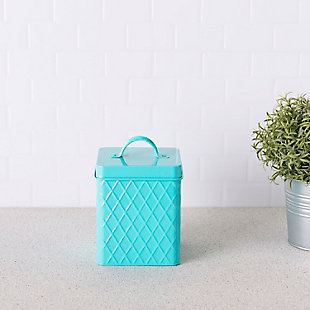 Home Accents Trellis Collection Small Tin Canister, Turquoise, , rollover