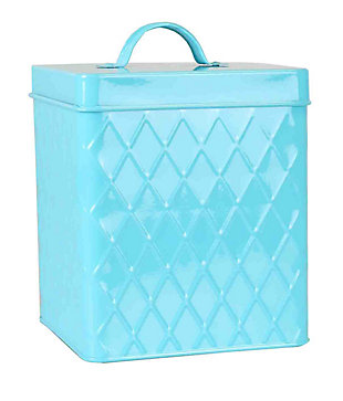 Home Accents Trellis Collection Small Tin Canister, Turquoise, , large