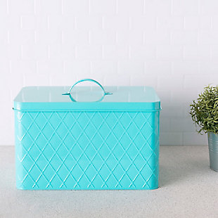 Home Accents Tin Bread Box, Turquoise, , rollover