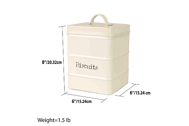 Home Accents Biscuits 2.8 LT Large Vintage Retro Enamel High Strength Tin Square Canister with Tight-Fit Lid and Easy Lift Handle, Ivory, , large
