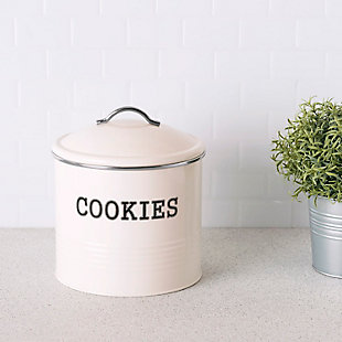 Home Accents Tin Cookie Jar, Ivory, Ivory, rollover