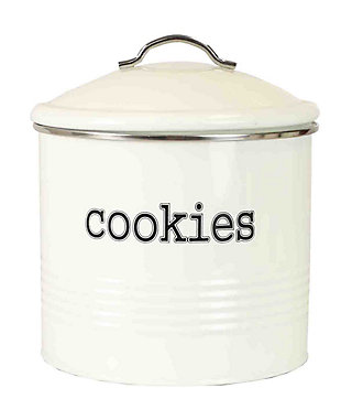 Home Accents Tin Cookie Jar, Ivory, Ivory, large