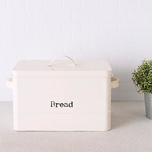 Home Accents Tin Bread Box, Ivory, , rollover