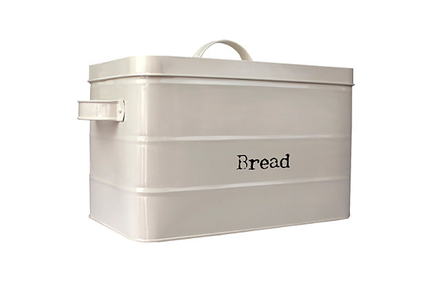 Home Accents Tin Bread Box, Ivory, , large