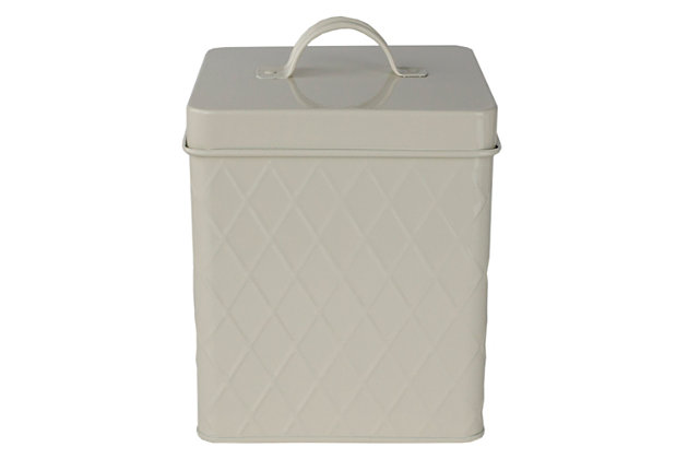 Home Accents Trellis Large Tin Canister, Ivory, , large
