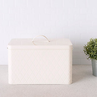 Home Accents Trellis Tin Multi-Purpose Bread Box with Snug-Fit Lid, Ivory, , rollover