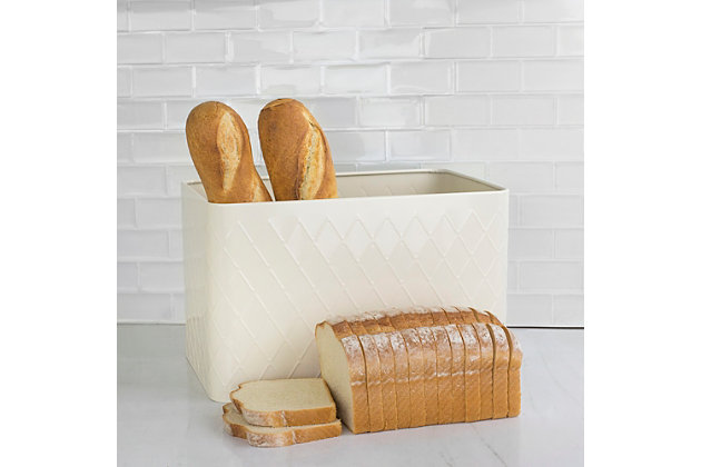 Home Accents Trellis Tin Multi-Purpose Bread Box with Snug-Fit Lid, Ivory, , large