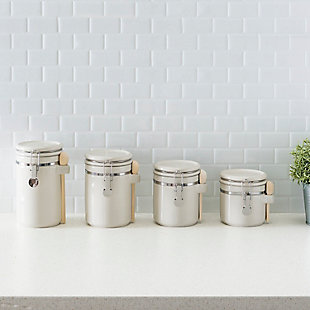 Home Accents 4 Piece Ceramic Canisters with Easy Open Air-Tight Clamp Top Lid and Wooden Spoons, Beige, , rollover