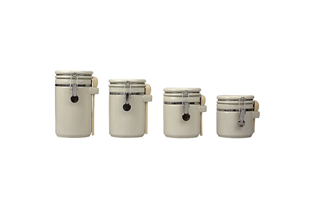 Home Accents 4 Piece Ceramic Canisters with Easy Open Air-Tight Clamp Top Lid and Wooden Spoons, Beige, , large