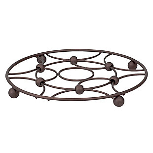 Home Accents Arbor Collection Round Ornate Carved Steel Decorative Heat Resistant Non-Skid Trivet, Oil Rubbed Bronze, , large