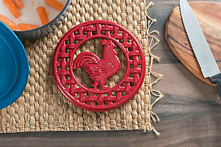 Home Accents Cast Iron Rooster Trivet, Red, rollover