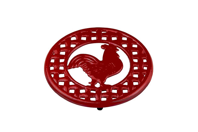 Home Accents Cast Iron Rooster Trivet, Red, large