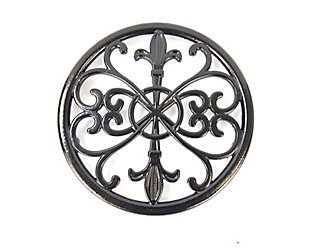 Home Accents Cast Iron Fleur De Lis Trivet, Black, Black, large