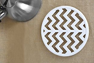 Home Accents Chevron Collection Cast Iron Trivet, White, White, rollover