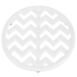 Home Accents Chevron Collection Cast Iron Trivet, White, White, large