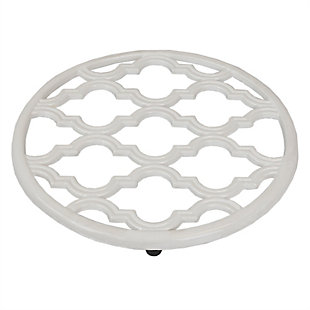 Home Accents Lattice Collection Cast Iron Trivet, White, White, large