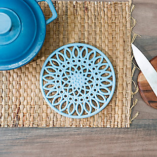 Home Accents Sunflower Heavy Weight Cast Iron Trivet, Light Blue, Light Blue, rollover