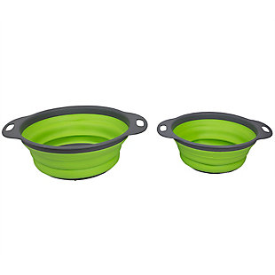 Home Accents 2 Piece Nesting Collapsible Silicone Colander, Green, , large