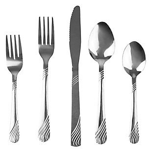 Home Accents River 20 Piece Stainless Steel Flatware Set, Silver, , large