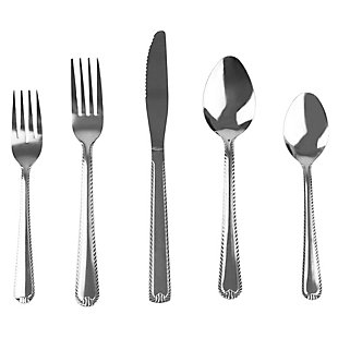 Home Accents Empire 20 Piece Stainless Steel Flatware Set, Silver, , large