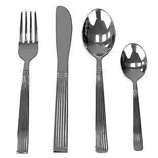 Home Accents Stripes 16 Piece Stainless Steel Flatware Set, Silver, , large