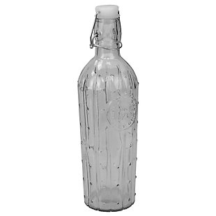 Home Accents Air-Tight 1 LT Flip Top Decorative Glass Bottle, Clear, , large
